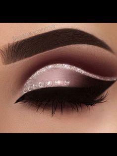 Ombre Eyeshadow With A Silver Crease and Gems