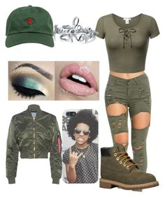 """me"" by princesskissbonilla ❤ liked on Polyvore featuring Alpha Industries, The Hundreds, Timberland and Bling Jewelry"