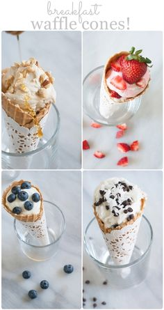 breakfast waffle cones!  YES, waffle cones for breakfast! from @bakeat350