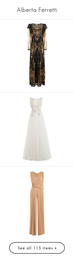 """""""Alberta Ferretti"""" by ahmady ❤ liked on Polyvore featuring dresses, gowns, silk gown, floral gown, floor length evening dresses, floor length ball gown, floral print gowns, long dresses, white and white beaded dress"""