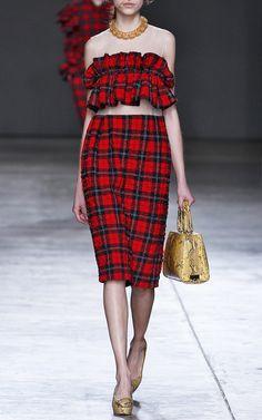 Tartan Seersucker Bandeau Frill Dress by Simone Rocha via Moda Operandi