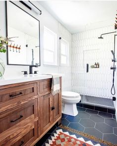 Setting yourself up for success every day starts in a clutter free, functional and fresh bathroom. Going dark with a rich toned vanity and super sexy black floors *in a small space* is possible! Dark Floor Bathroom, Black Tile Bathrooms, Upstairs Bathrooms, Downstairs Bathroom, Bathroom Renos, Cheap Bathroom Flooring, Bathroom Ideas, Small Bathroom Inspiration, Vanity Bathroom