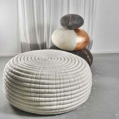 NDEBELE, an ottoman or coffee table, two dimensions, in Merino Wool, handmade in South Africa - 100% ecological, deco and design, design Ronel Jordaan