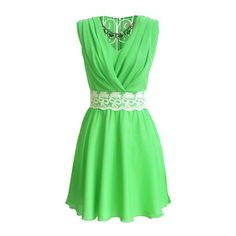 Green V Neck Sleeveless Lace Pleated Chiffon Dress ($17) ❤ liked on Polyvore