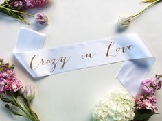 Customize this Crazy in Love 3.5 satin sash with your own colors! Great for bachelorette parties, engagement parties, and bridal showers! When purchasing please leave in the notes to seller date needed by. PRODUCT INFO: - Crazy in Love sash - For variations, please see our shop or