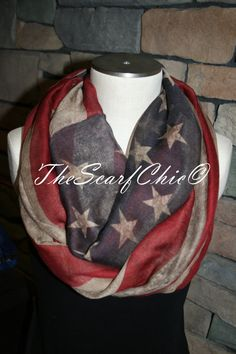 Vintage American Flag Infinity Scarf Patriotic Flag Print Chunky Infinity Scarf Loop Scarf-Red-White-Blue-4th of July Scarf Accessory-Grunge