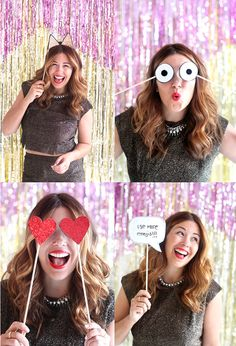 Cute DIY - New Year Party Props - The Style Insider Wedding Photo Booth Props, Diy Photo Booth, Photo Booth Backdrop, Party Props, Birthday Photobooth Props, Birthday Photo Booths, Diy New Years Party, Diy Party, Party Ideas