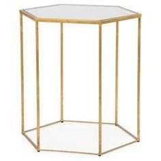 one kings lane | virginia hexagonal side table, aged gold