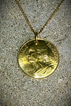 Vintage NECKLACE Foreign coin money France French by bleustuff1, $6.99