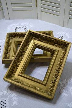 Vintage Wooden Frame Set of 2 Gold Ornate Wedding by PanchosPorch