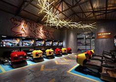 北京海岸郭准投稿—武汉十三街区电玩城设计方案 Home Bowling Alley, Geek House, Black Bedroom Design, Gaming Center, Arcade Game Room, Maze Design, Game Room Basement, Dream Mansion, Retro Arcade