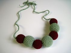 Crochet Covered Bead Necklace via Etsy
