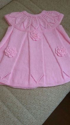 """diy_crafts- Layette, Tissues """"Discover thousands of images about Baby dress"""", """"This post was discovered by Tev"""", """"my crochet bo Girls Knitted Dress, Knit Baby Dress, Knitted Baby Clothes, Baby Cardigan Knitting Pattern, Baby Knitting Patterns, Baby Patterns, Baby Girl Dresses, Baby Outfits, Knitting For Kids"""