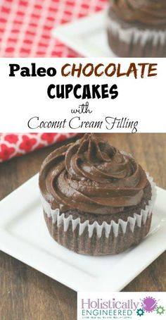 Paleo Chocolate Cupcakes with Coconut Cream Filling #lowcarb