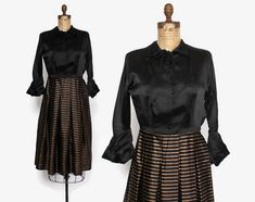 Vintage 40s Copper & Black Dress / 1940s Silk Satin and Metallic Stripes Dress with Dramatic Cuff Sleeves  #40sfashion