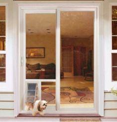 Glass Door Lock, French Doors, Craftsman Front Doors, Sliding Glass Dog Door, Sliding Screen Doors, Diy Doggie Door, Door Makeover, Store Door