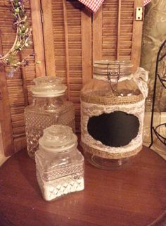 oversized jar wrapped in burlap and lace with chalkboard front by ninasoriginals on Etsy