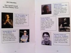The Awards booklet - Best Novel category Booklet, New Books, Science Fiction, Awards, Novels, David, Fantasy, Photos, Sci Fi