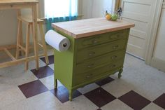 DIY: Use a dresser for a kitchen island.  Paint, attach butcher block, cook all the things.