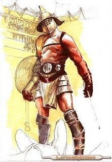 The Hoplomacus was the most heavy armored of the gladiators. His weapons and fighting techniques were very similar to the Samnite. He carried a large rectangular shield (scutum), and sword (gladius). He wore a visored helmet and his legs and arms were protected by metal or leather greaves. His right arm was protected by a Manica, an armor that goes up to the shoulder. He was considered the bulldozer of the Arena, but he was also limited in his speed cause of the weight of his heavy armor.