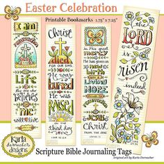 These four Easter Bible Verse Bookmarks were originally hand drawn directly in my ESV Journaling Bible... then inked with Micron pens and colored