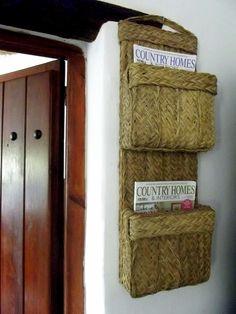 organic esparto hanging magazine rack