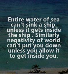 I want to ward off the internal negativity