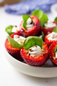 These Goat Cheese & Spinach Stuffed Strawberries with Candied Walnuts & Balsamic Glaze are the perfect Spring Appetizer!