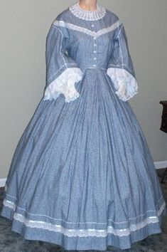 19th century clothing 1858 pioneer settler | 1860s Pagoda Day or Evening Dress, 19th Century (1800s) Ladies Dresses
