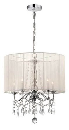 White Pendant Chandelier - This matches with the side table lamps nicely and ties in the room with ambiance