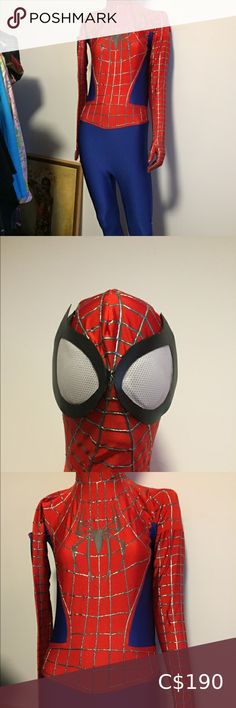 """Award winning 🕷 Spider-Man nerd costume comicon Custom made by art student for my make 🤓 friend. We paid over $400 just for the materials! But he won 4 Halloween costume contests so.. fits between 5'6"""" to 5'10"""", 160 to 190 pounds roughly. Lots of stretch but not baggy! He was 5'8 and 175... Double zip at back shoulder for getting in! He wore inside tight black ankle boots and that looked great. Sole was made to not be seen so foot is meant to overlap it. Bit strange on my tall female… Nike Tech Fleece Tracksuit, Armani Code Colonia, Armani Ties, Spiderman, Hooded Winter Coat, Halloween Costume Contest, Versace Men, Mens Fleece, Jacket Buttons"""
