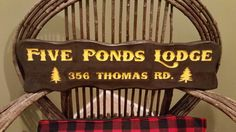 Road side custom carved cedar sign by Adirondack Jim. Www.adirondackjims.com