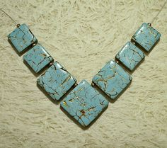 Gold veined faux turquoise - square polymer clay focal tile beads pendant   Flickr - Photo Sharing!