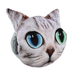 Aircee (TM) Decorative 3D Effect Big Cat Face Head Shape Pillow Sofa Chair Back Cushion Plush Throw Pillow Hands Warmer (Face 4) * You can get additional details at the image link.