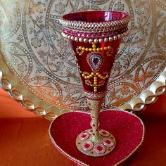 Beautiful hand decorated Doodh Pilai glass and matching heart shaped plate. Check out my Facebook page www.facebook.com/mehnditraysforfun