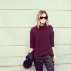 hair + burgundy + black or dark grey
