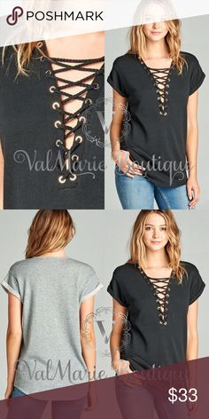 Black Lace Up French Terry Top SHORT SLEEVE PLUNGE LACE-UP FRENCH TERRY TOP W/ EYELET TRIM - THIS LISTING IS FOR BLACK. I HAVE GREY IN OTHER LISTING.   70% COTTON 30% POLYESTER - FITS TRUE TO SIZE CASUAL NOT FITTED. S(2-4) M(6-8) L(10-12) ValMarie Boutique Tops