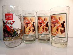 Vtg Coca Cola Holiday Collectible Glasses Set Santa Christmas Coke Cups