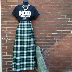 """Vintage Miller & Rhoads Plaid Maxi Well constructed vintage plaid, pleated maxi with side leather straps/ buckle closure. 65% Acrylic 35% Wool. Made in England. Excellent vintage condition. Waist 29-30/ Hip 40/ Length 38"""" Vintage Dresses"""