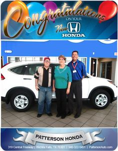 Congratulations to Pat & Johnny Veal on the New Honda! - From Ted Turner at Patterson Honda