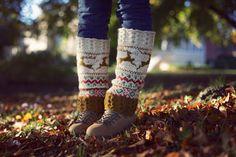 Deers hand knit wool leg warmers for women