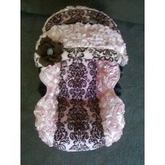 Graco Snugride Pink Brown Minky Damask with Light Pink Rosette fabric Infant Car Seat Cover