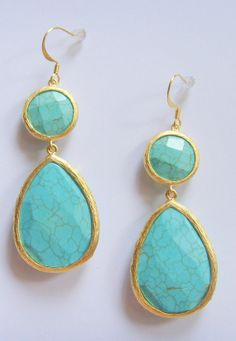 beautiful turquoise drop earrings from stitchandstonedesign