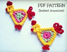 INSTANT DOWNLOAD PDF Crochet applique pattern by Thehobbyhopper,