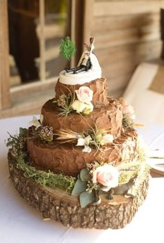 """Rustic wedding cake-""""The hunt is over"""""""