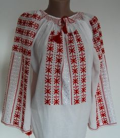 hand embroidered Romanian top - Romanian peasant blouses for sale- Peasant Blouse, Peasant Tops, Henry Jones Jr, Palestinian Embroidery, Simply Beautiful, Bell Sleeve Top, Costumes, Dream Wardrobes, Shopping