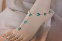 Blue and White Foot Jewelry Barefoot Sandals Beach by KNjewelry, $25.00