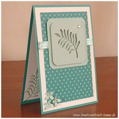 handmade card ... Botanical Garden .... luv the negative space die cut leaf on front and inside .. tall and narrow format ... Stampin' Up!