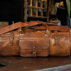 Durable Leather Duffle Bag in Camel