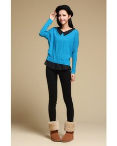 Blue Bat Sleeve Doll Collar Chiffon Splicing Sweater - Sweaters - apperal Indressme$41.40